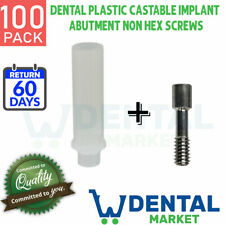 X 100 Dental Plastic Castable Implant Abutment Non Hex Screws Included