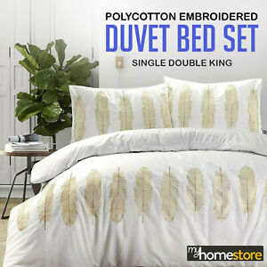 Feather Embroidered Duvet Quilt Cover With Pillow Cases Single Double King Size