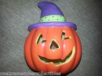 HALLMARK Ceramic Pumpkin TEA LIGHT CANDLE HOLDER Halloween JACK O' LANTERN New
