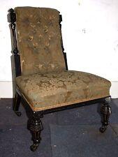 Antique Victorian ebony Parcel gilt button back bedroom salon chair nursing