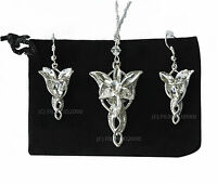 LOTR Lord Of The Rings Hobbit Arwen EVENSTAR Necklace Pendant Silver + Earrings