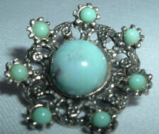 VINTAGE SILVERTONE FAUX TURQUOISE FLOWER BROOCH PIN IN GIFT BOX
