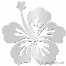 36 SILVER HIBISCUS FLOWERS car wall stickers T3