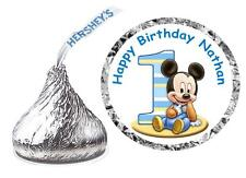 216 BABY MICKEY MOUSE 1ST BIRTHDAY PARTY FAVORS HERSHEY KISS KISSES LABELS