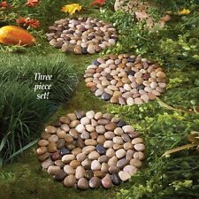 Outdoor Set of 3 Round River Rock Stepping Stones Mats Patio Lawn Garden Decor