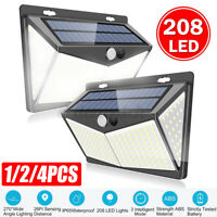 208LED Solar Powered Light Outdoor PIR Motions Sensor Garden Security Wall Lamps
