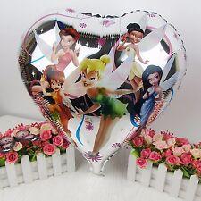 "18"" 45cm Tinkerbell & friends heart shaped foil helium balloon fairy fairies"