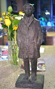 ReubenRobert Kramer American Bronze Sculpture Man Long Coat Self Portrait Signed