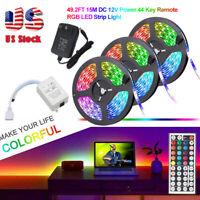 49.2ft 32.8ft RGB 3528 LED Strip Light SMD+44Key Remote+DC 12V Power Kits US
