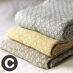 Luxury 100% Cotton ECO Pink / Grey / Ochre / Beige Sofa Bed Throw Blanket Fringe