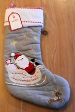 New Pottery Barn Kids QUILTED SANTA IN SLED Christmas Holiday Stocking