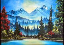 Original Signed Mountain Landscape Oil Painting 18x24 Canvas Bob Ross Style