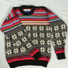 Ski Sweater Mens Small Wool Stowe Woolens Red Black Green Nordic USA Made VTG