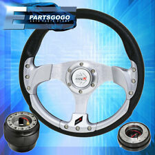 320mm Silver Fusion Style Steering Wheel + Black Quick Release For 89-05 Eclipse