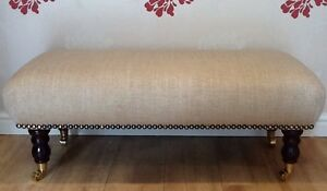 Footstool Stool In Laura Ashley Dalton Natural Fabric