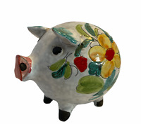Mid Century Large Ceramic Piggy Bank Hand Painted Flowers Made in Italy