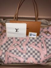 Auth Louis Vuitton Neverfull MM Damier Azur Tahitienne Pink Rose Ballerine Bag
