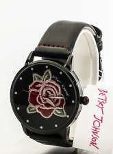 Betsey Johnson Women's Embroidered American Red Rose Watch BJ00659-03BX, New