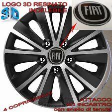 """4 Copricerchi Borchie ruote Raptor 14"""" Logo resinato 3D per Fiat Nuova Panda"""