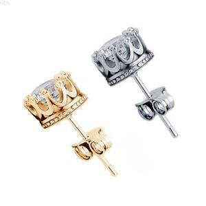 Men Women 925 Silver Plated Post Stud Crown Cubic Zirconia Earrings holdingsllc