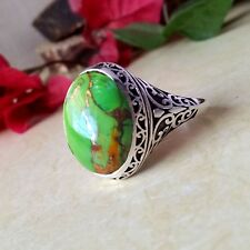 925 SILVER GREEN COPPER TURQUOISE GEMSTONE DESIGNER WEDDING MEN'S RING JEWELRY