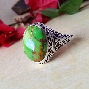 GREEN COPPER TURQUOISE 925 STERLING SILVER DESIGNER WEDDING GIFT MEN'S BIG RING