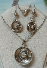 Vintage Mexican Sombrero Sterling Silver Necklace and Earring Set