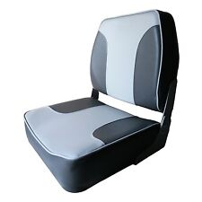 Deluxe Low Back Folding Marine Boat Seat Charcoal & Gray