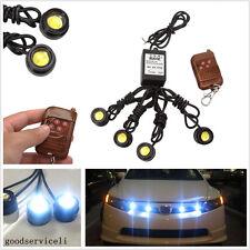 4 Pcs Eagle Eye White LED Car Grille Emergency DRL Strobe Light Wireless Remote