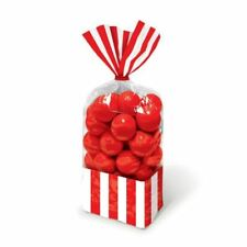 10 Red Classic Stripes Treat Loot Cello Party Supplies Sweet Plastic Candy Bags