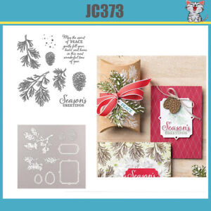 JC373 Peaceful Boughs stamp set and cutting Dies DIY Scrapbooking Card Stencil
