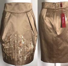 "£75🌟MONSOON 🌟 Gold Sequin Beaded Lined Skirt Size 8 - 10 UK. W29"" L21"""