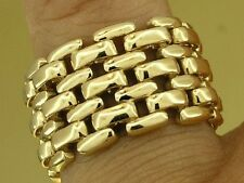 R036- Genuine 9K Gold 12mm WIDE Flexible  MESH Panel-link Ring Brick size 6