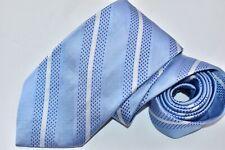 Men's Paul Fredrick Striped Blue Silk Neck Tie made in USA