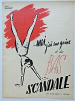 PUBLICITÉ DE PRESSE 1951 SCANDALE MOI J'AI UNE GAINE ET DES BAS - FACON MARREC