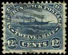 New Brunswick #10 used F 1860 Cents Issue 12 1/2c blue Steamship CV$50.00