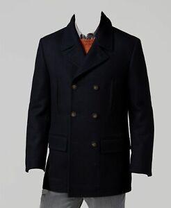 $747 Ralph Lauren Mens Blue Double Breasted Overcoat Peacoat Coat Jacket 46L