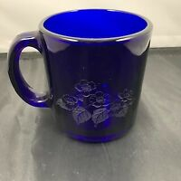 COBALT BLUE Heavy GLASS MUG 10 Oz. COFFEE Tea CUPS Made in USA etched flowers