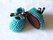 0-3 Months Hand Crocheted Baby Girl Booties Bright Blue and Brown Mary Joe Style