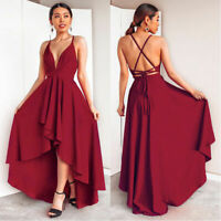 Women's Sexy V Neck Backless Asymmetrical Dress High Low Evening Party Long Gown
