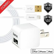 10x HAMA iPhone 5 6 6s 7  Home Charger 2.4 Amp Cube + 6FT MFI Lightning Cable