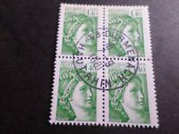 FRANCE BLOC timbres 2154 SABINE, oblitéré 1981 cachet rond, QUARTINA