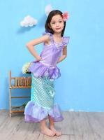 Princess Ariel Little Mermaid Costume Outfit Fancy Dress Up Girls 3-10 kid