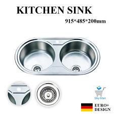915mm Round Kitchen Sink Stainless Steel Double Bowl  Topmount