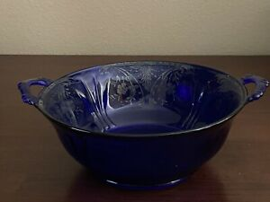 Cobalt Blue Glass Serving Dish Bowl with Handles Sterling Floral Overlay