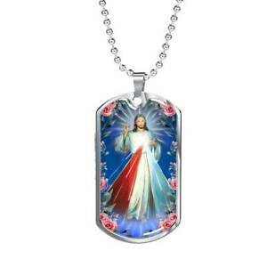 """Divine Mercy Catholic Necklace Stainless Steel or 18k Gold Dog Tag w 24"""" Chain"""