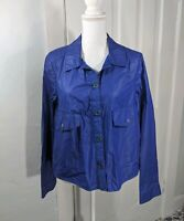 Hei Hei Anthropologie Blue Waxed Finish Jacket Women's Medium Cotton Loose