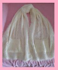 Maxi sciarpa stola scialle con tasche bianco panna avorio misto lana sintetica