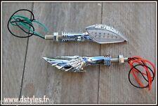 paire de Clignotants Bras de squelette / Skeleton à LED Chrome moto custom trike