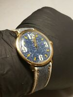 Vintage Timex Gent's Mechanical  Watch  Denim Band/Dial Running